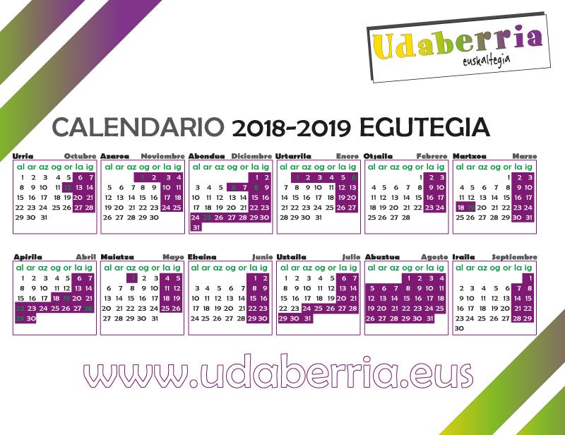 Calendario 2018-2019 egutegia